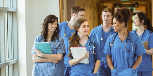 Medical students in hallway