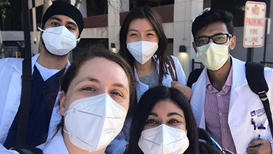 Psychiatry residents with white masks